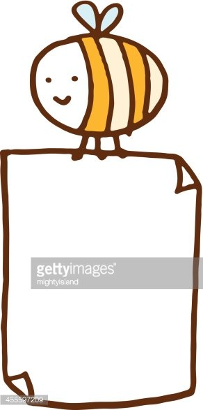 Bee carrying a blank poster Clipart Image.