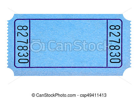 Blank blue movie or raffle ticket isolated on white background. Space for  copy..