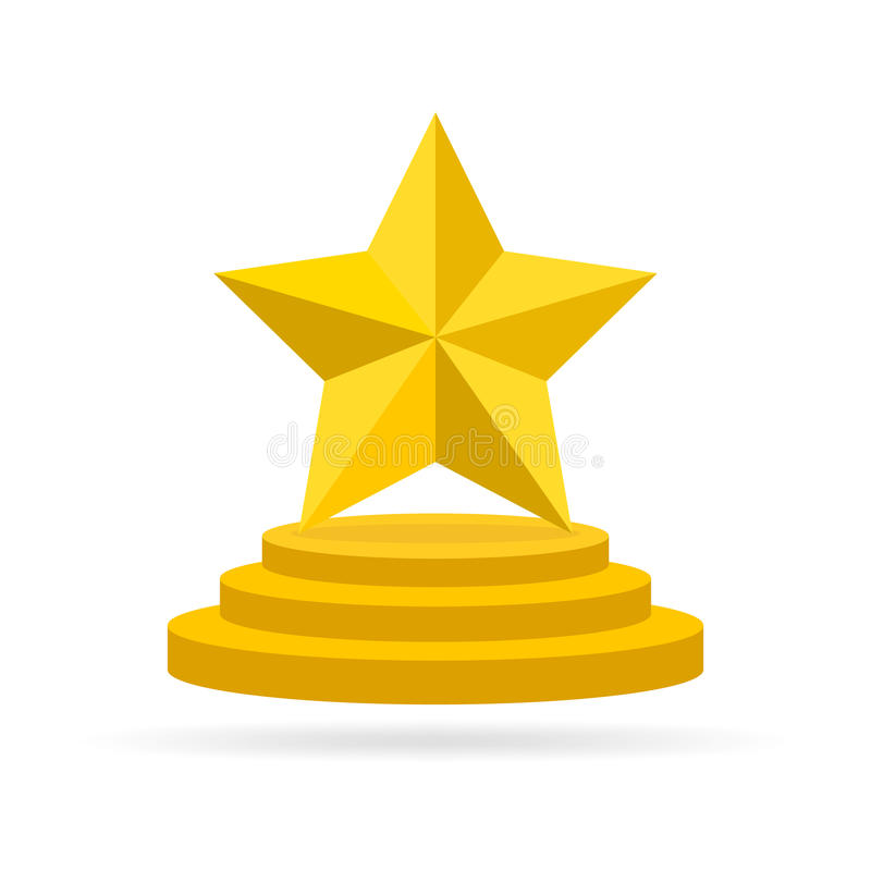 Star Award On Trophy. Vector Illustration. Stock.