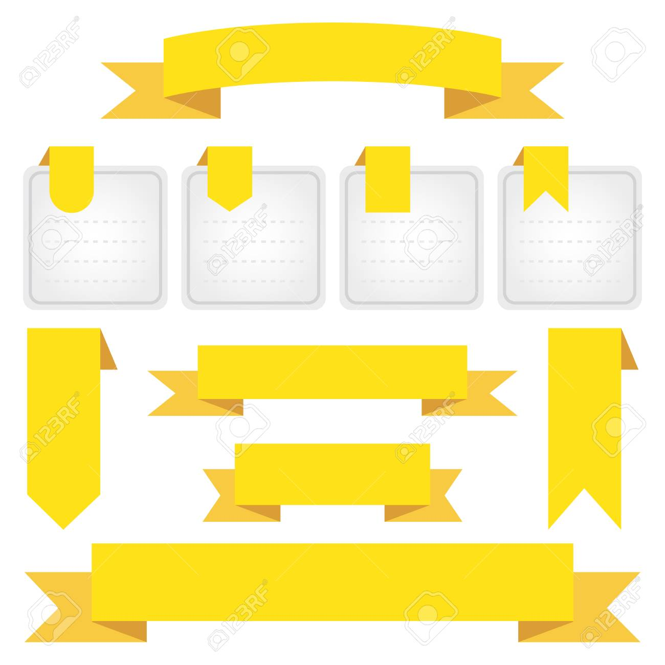Set of blank yellow ribbon banners, vector illustration.