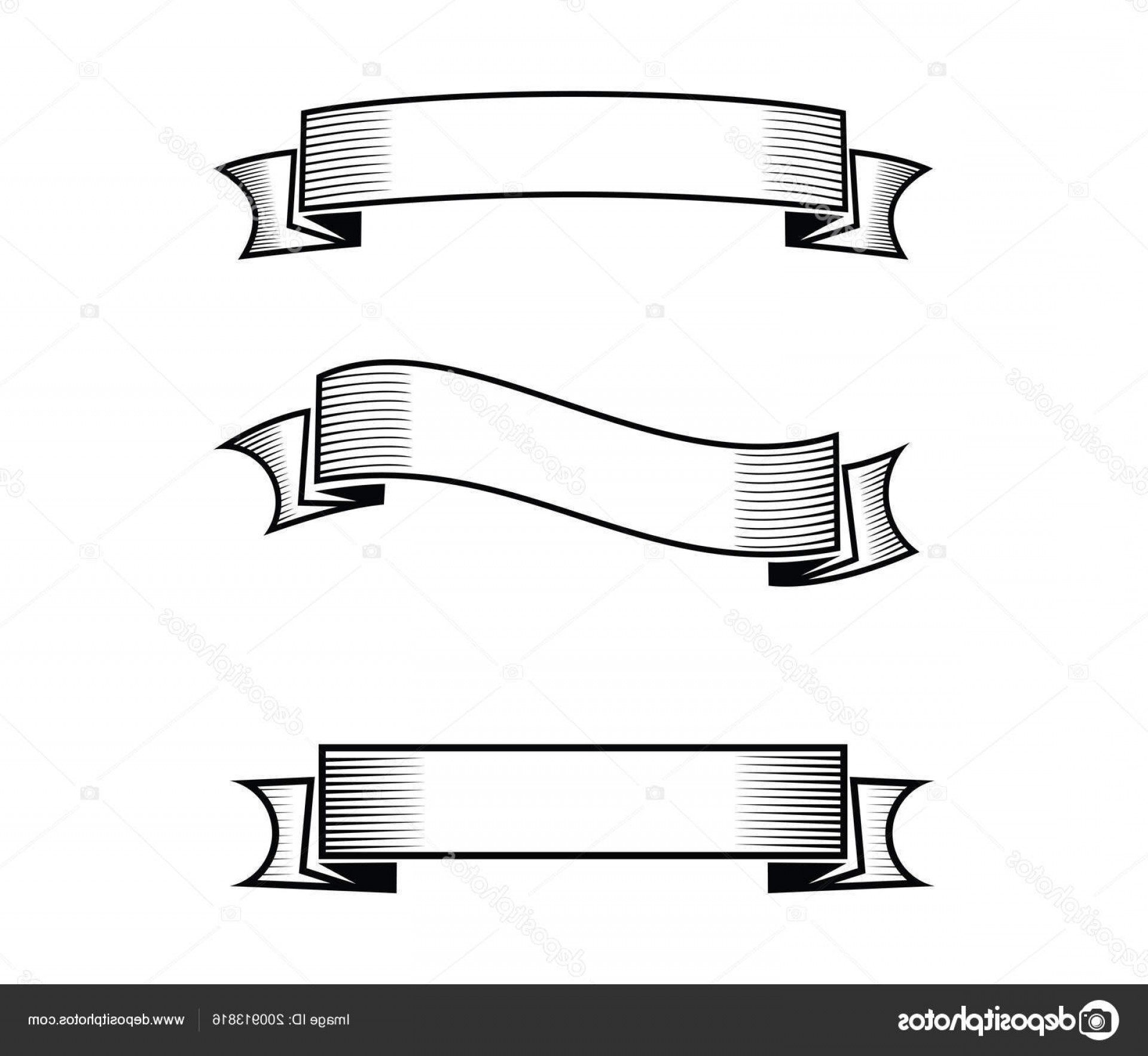 Stock Illustration Blank Ribbon Banner Set Vector.