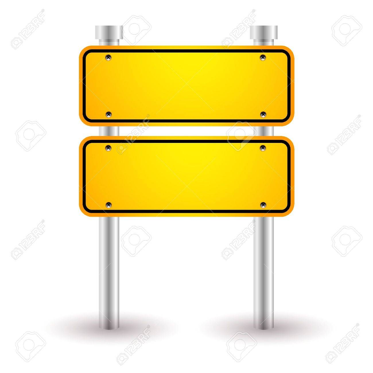 yellow blank road sign.
