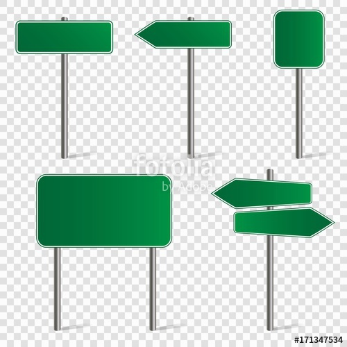Set of blank road signs isolated on transparent background. Vector.