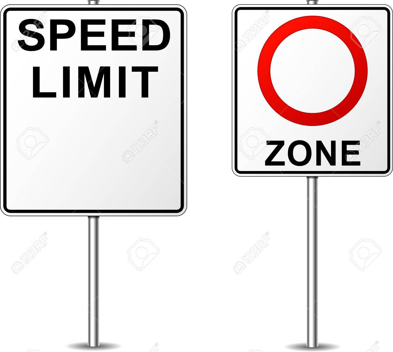 illustration of two blank road signs for speed limit.