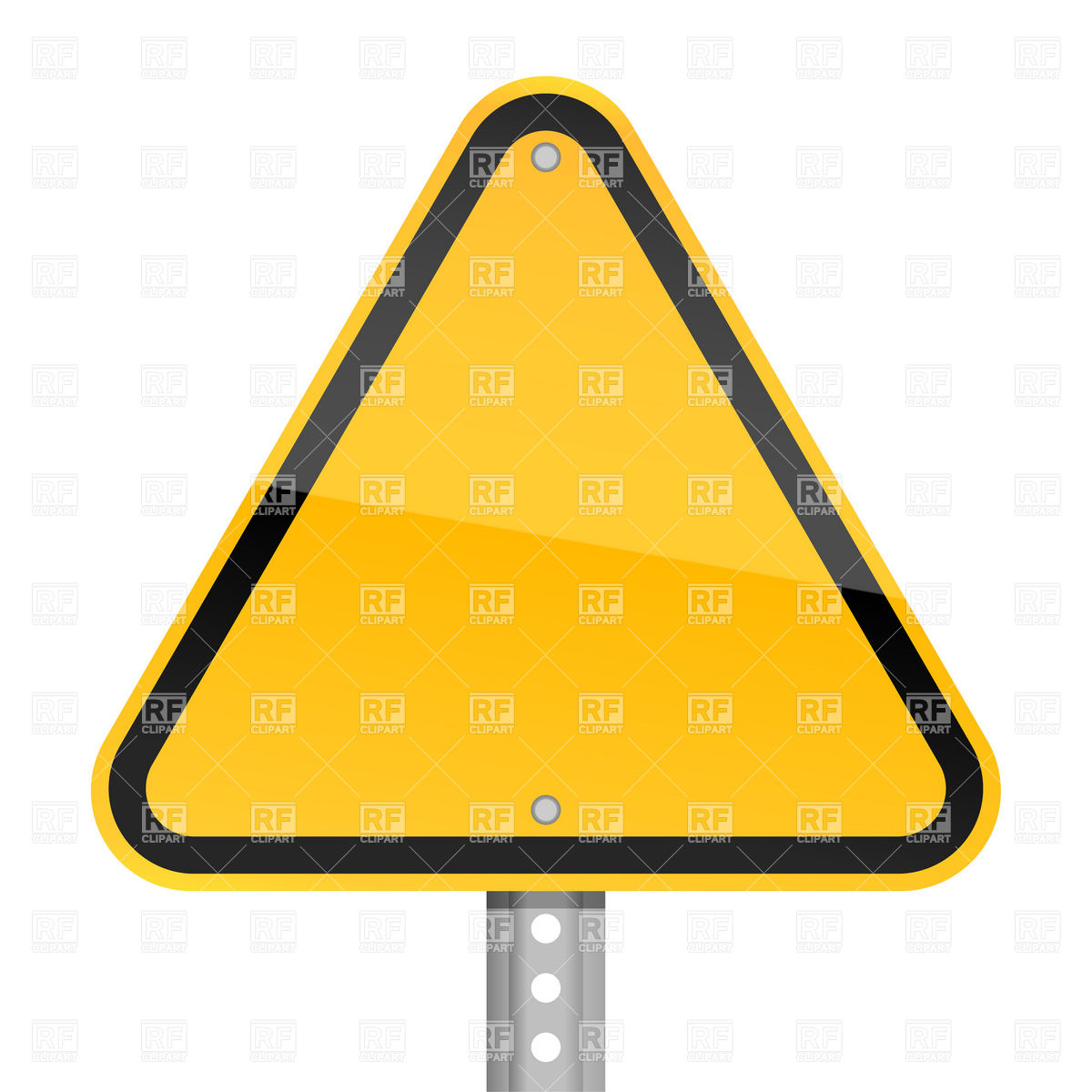 Triangle yellow blank road sign Stock Vector Image.
