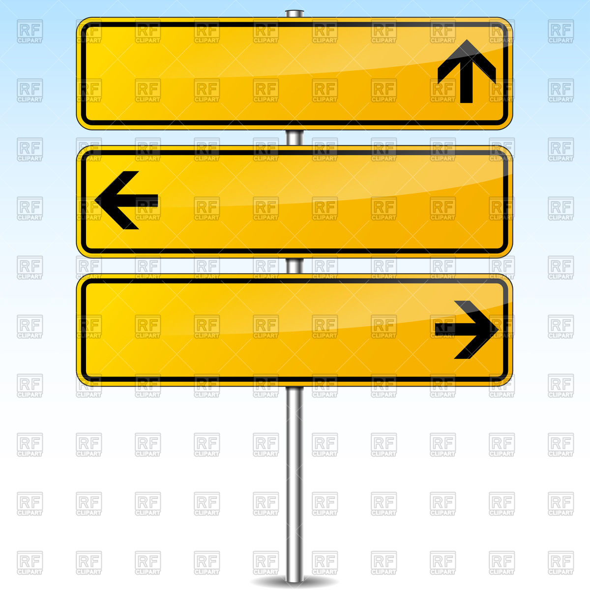 Blank yellow traffic sign with arrows Stock Vector Image.