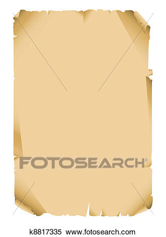 Ancient scroll paper blank Clipart.