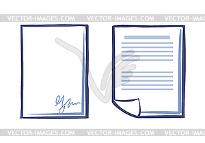 Blank Sheet of Paper with Signature and Document.