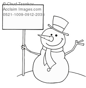 Clipart Illustration of Black and White Snowman With a Blank.