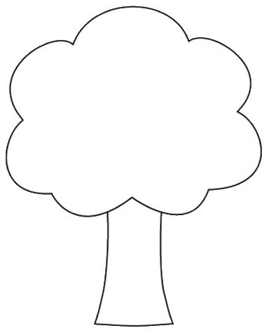 tree shape clipart to color, 12cm.