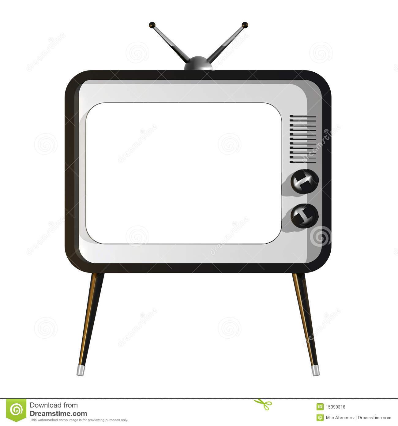 TV with empty screen stock illustration. Illustration of.