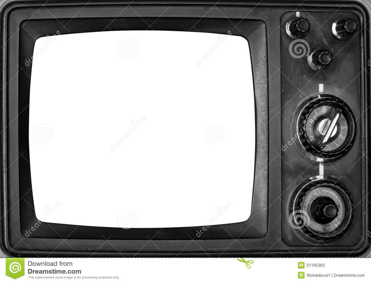 Vintage TV With Isolated Screen Stock Image.