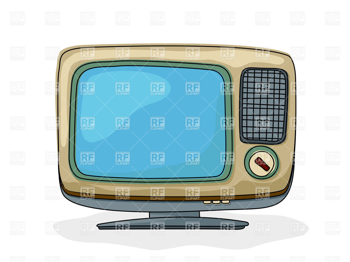 Drawing of retro style tv set with blank blue screen Stock Vector Image.