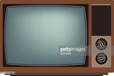 Old TV screen. Clipart Image.