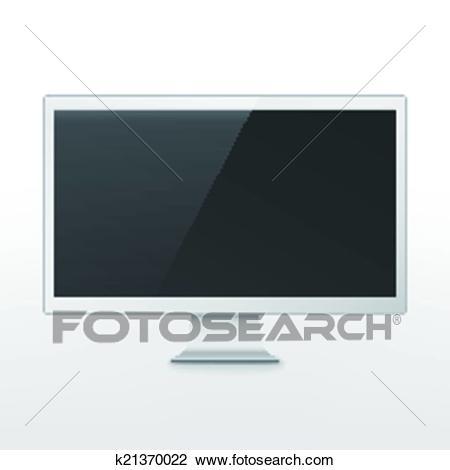 Modern blank flat screen TV Clipart.