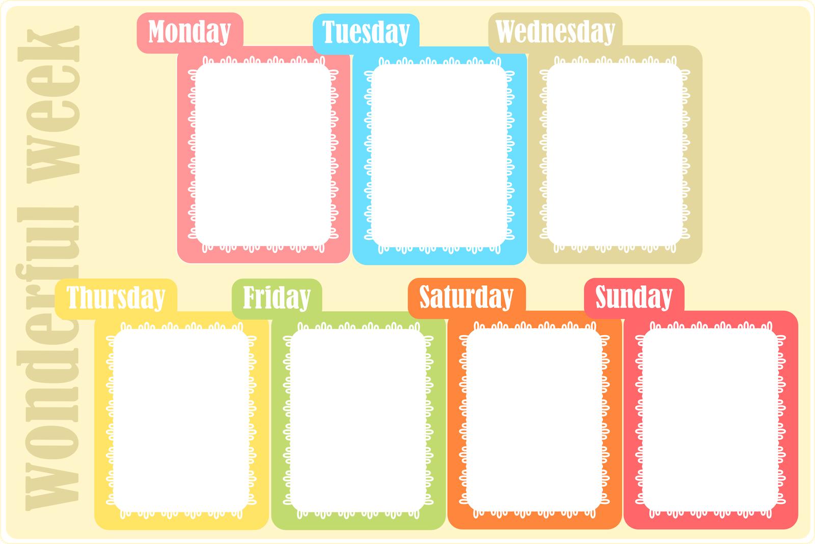 free printable week calendar