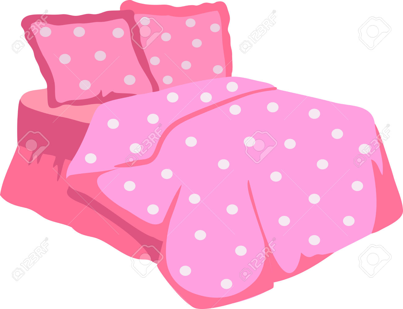 Bed With Pink Blanket and pillow » Clipart Station.
