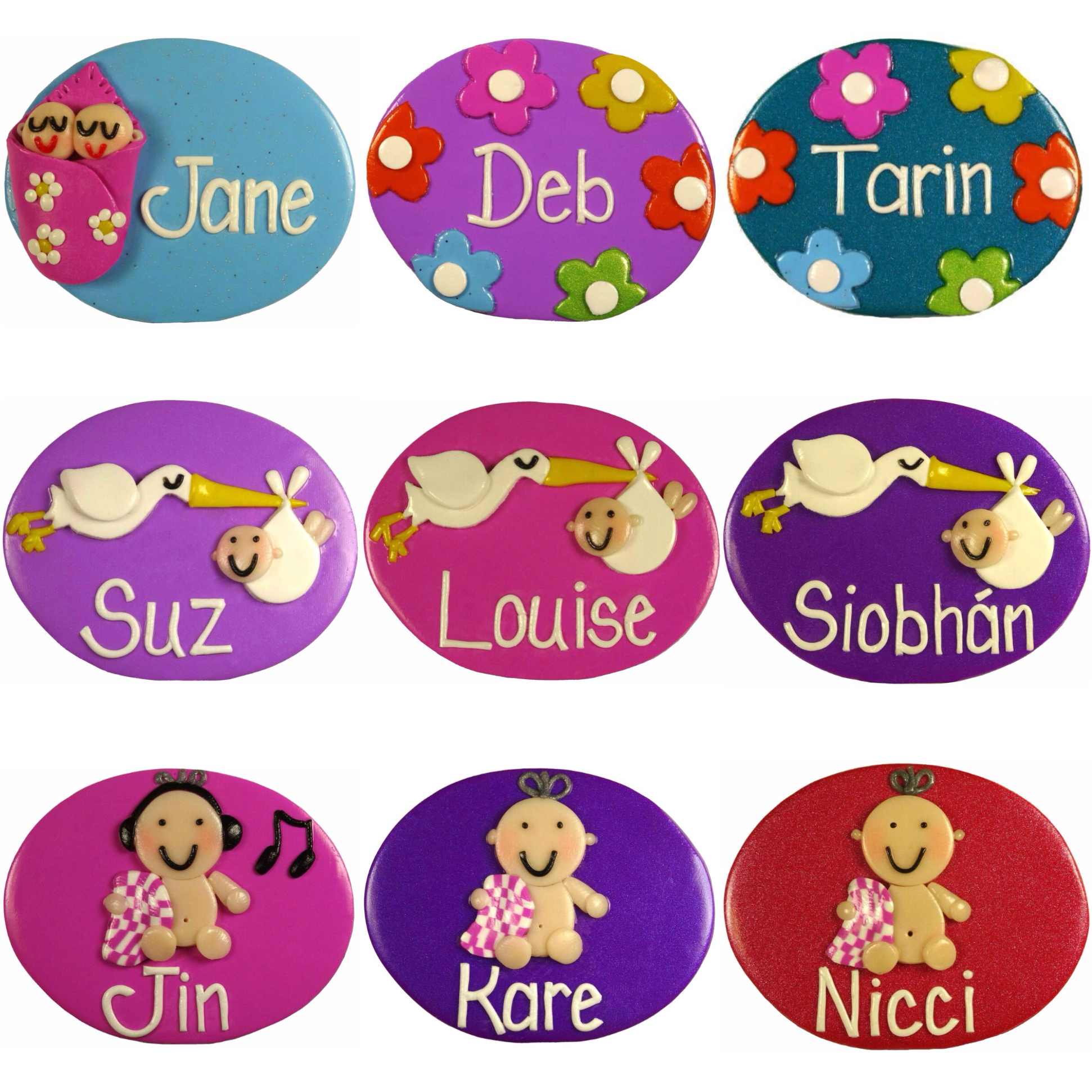 Nurse Name Badges Twins in Blanket, Flowers A, Stork & Baby.