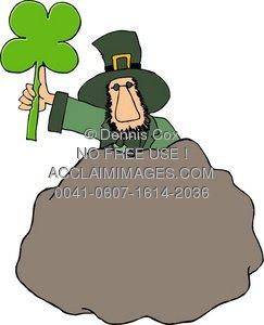 Clipart Illustration: Leprechaun Behind A Blarney Stone.