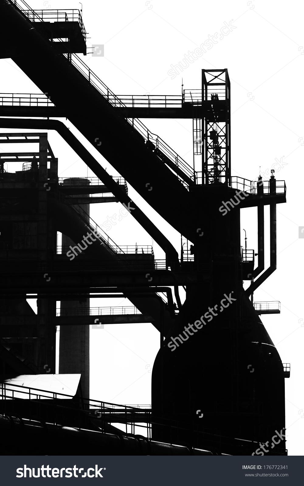 Blast Furnace Silhouette Heavy Steel Machinery Stock Illustration.