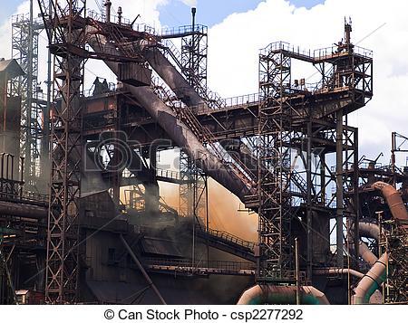 Stock Photo of Metallurgical plant blast furnace.