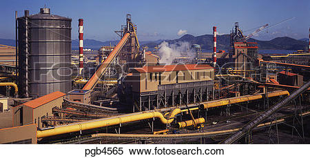 Stock Image of Blast furnaces at an integrated steel plant in.