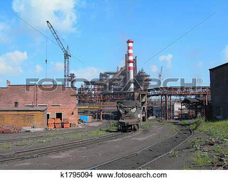 Stock Photo of Metallurgical works with blast furnaces k1795094.