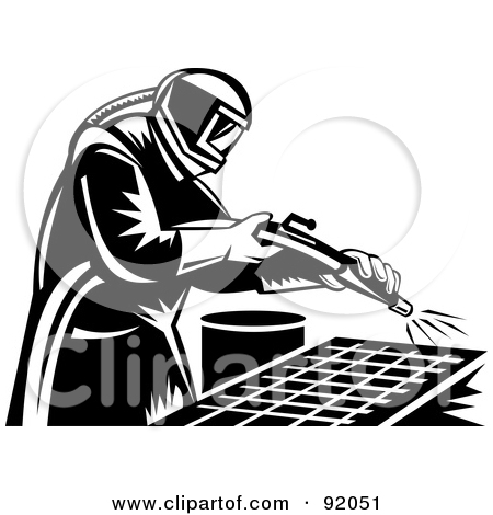 Clipart Of A Retro Black And White Sand Blaster Man Holding A Hose.