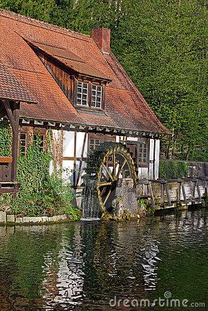Watermill At The Blautopf In Blaubeuren, Germany Stock Image.