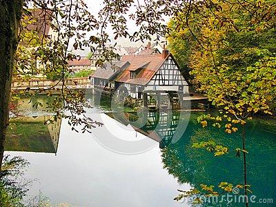 Blautopf At Blaubeuren In Autumn, Germany Stock Photo.