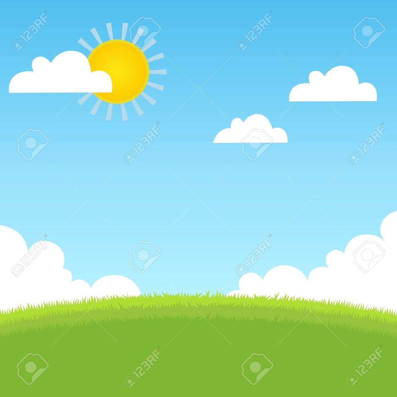 Sommerlandschaft Mit Gras, Blauer Himmel Lizenzfrei Nutzbare.
