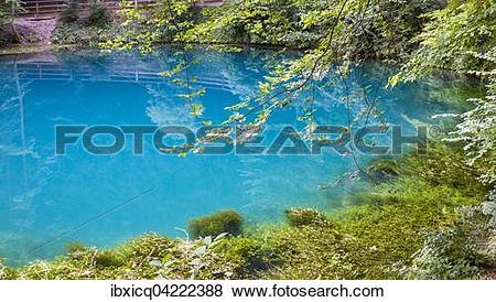 Pictures of Karst spring Blautopf in Blaubeuren, Swabian Jura.