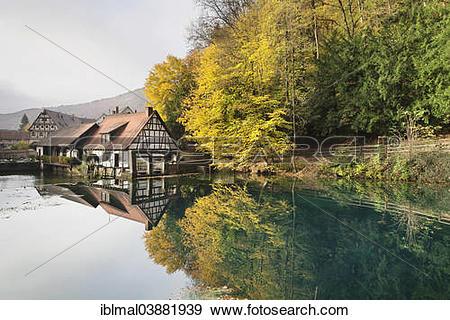 "Stock Photograph of ""Mill at the Blautopf spring, Blaubeuren."