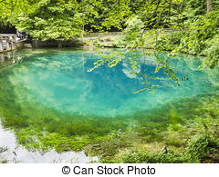 Stock Photos of Blautopf pond is a famous landmark in Germany. The.