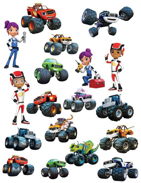 Blaze & the Monster Machines Clipart Images INSTANT DOWNLOAD.