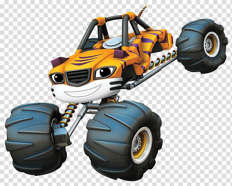 Orange, black, and white monster truck illustration, Blaze.