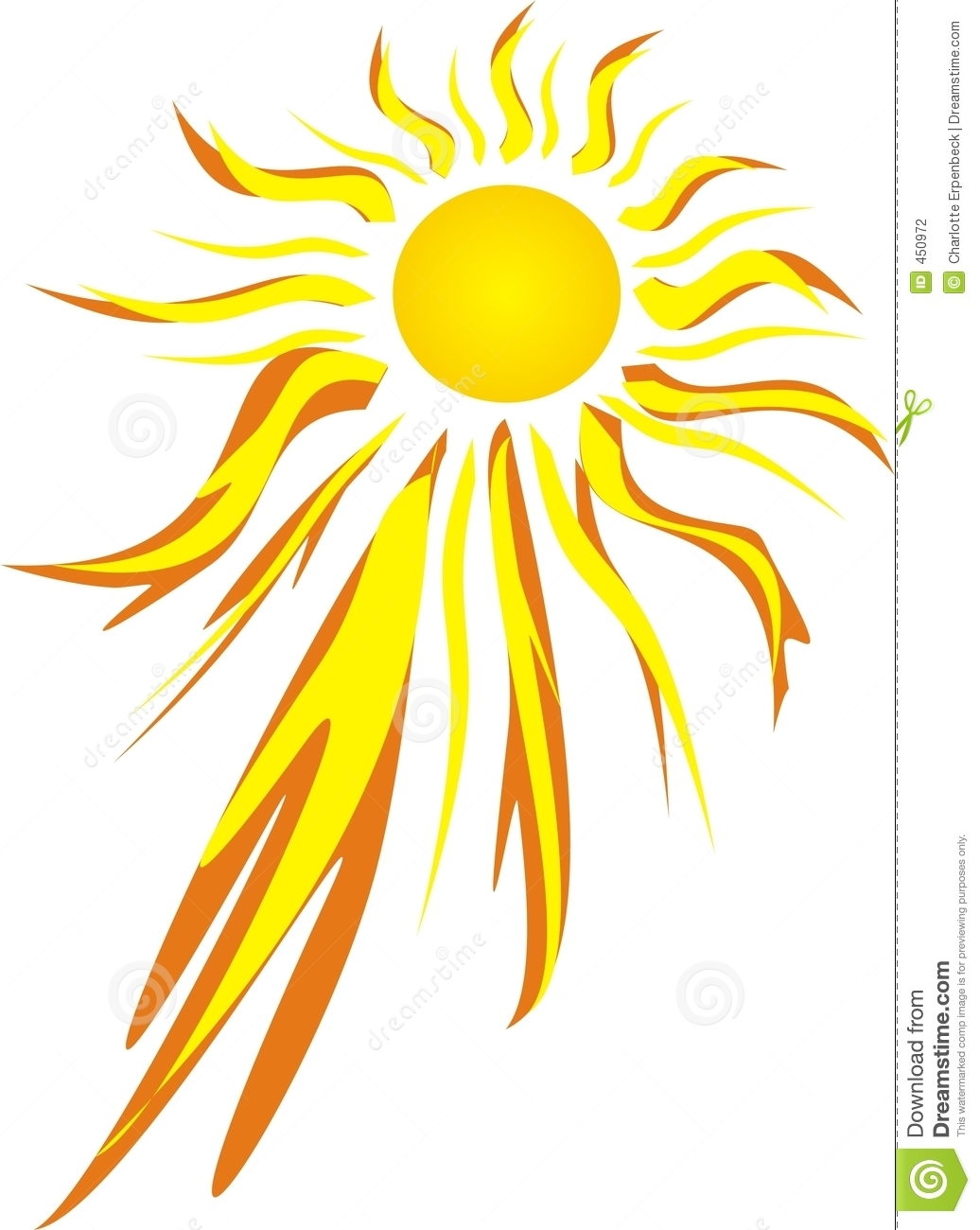 Burning sun clipart.
