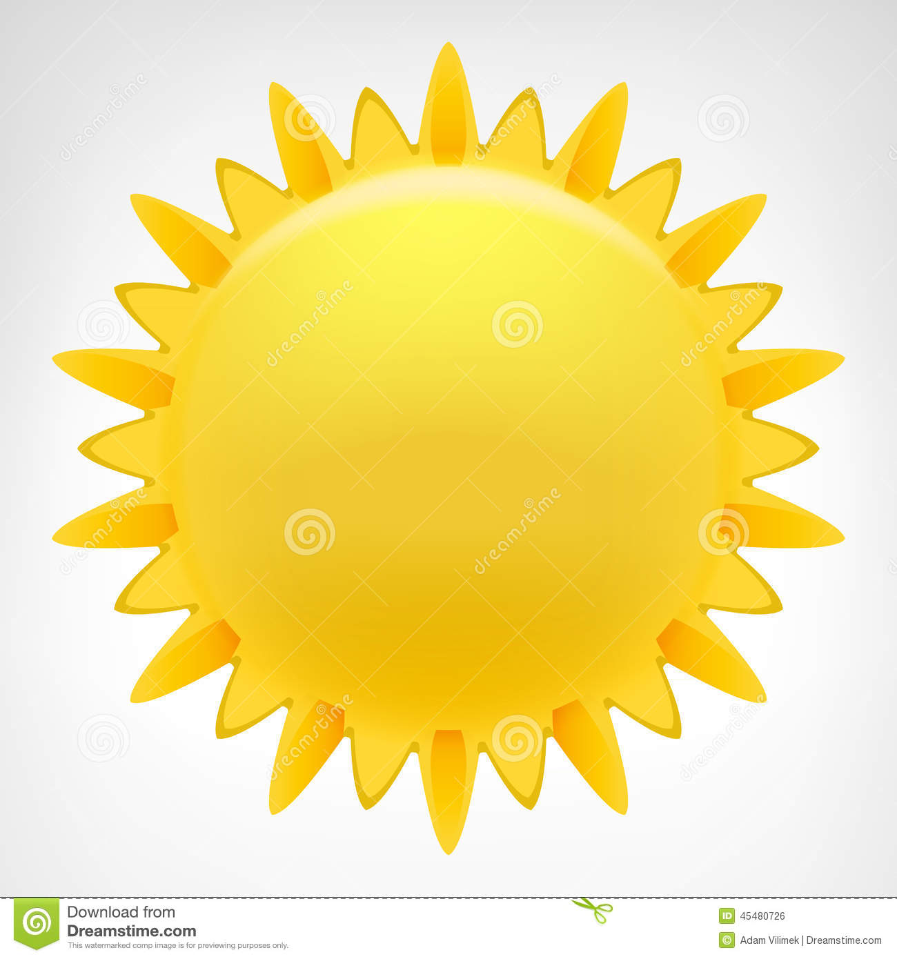 Blazing Sun Clip Art Vector Isolated Stock Illustration.