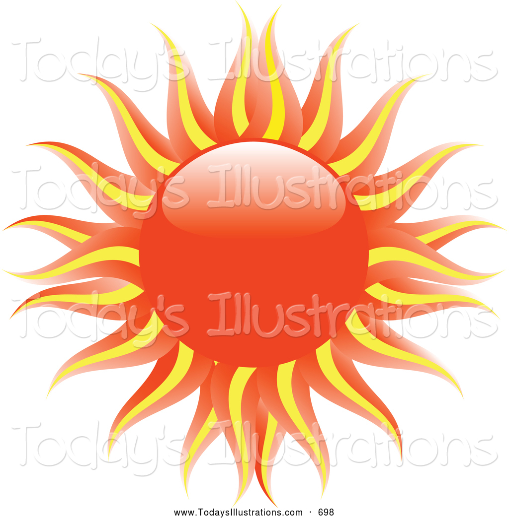 Clipart of a Blazing Hot Evening Sun with Orange and Yellow Rays.