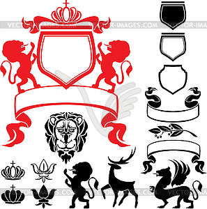 of heraldic silhouettes elements.