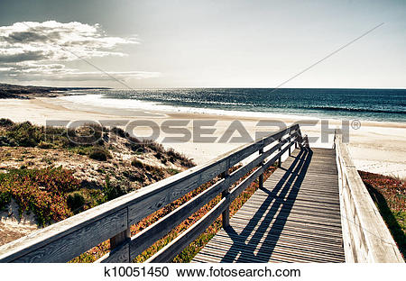 Stock Photography of Super image of a boardwalk to the beach.