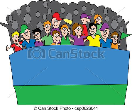 Fans in bleachers clipart.