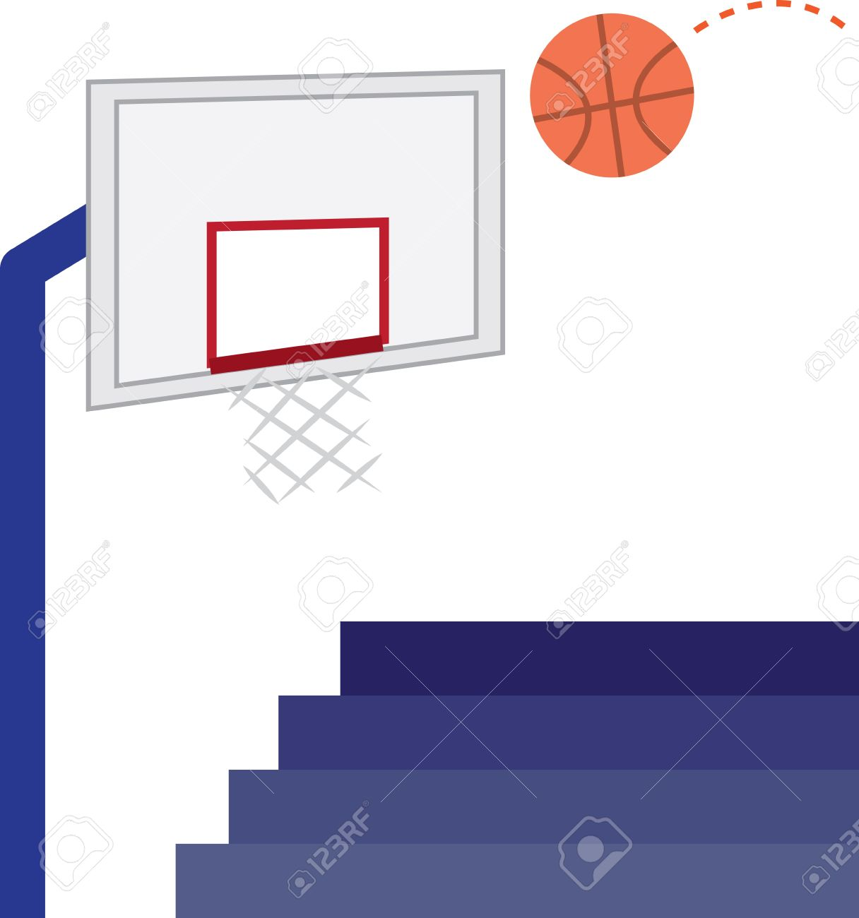 Basketball Hoop, Basketball And Bleachers Royalty Free Cliparts.