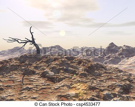 Stock Illustrations of Bleak Badlands.
