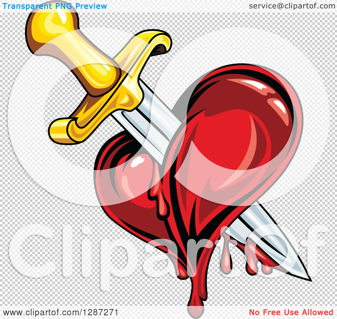 Clipart of a Sword Stabbing a Bleeding Heart.