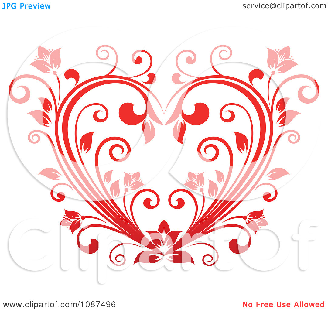 Clipart Red Floral Vine Heart.