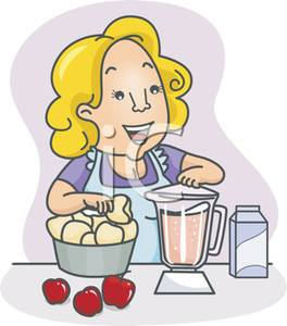 Picture: A Smiling Woman Making a Smoothie.