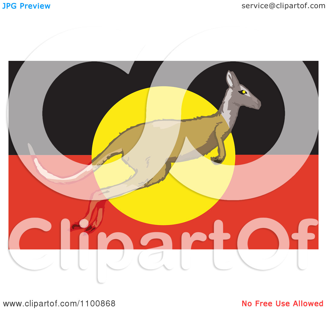 Clipart Kangaroo Leaping In Front Of An Australian Aboriginal Flag.