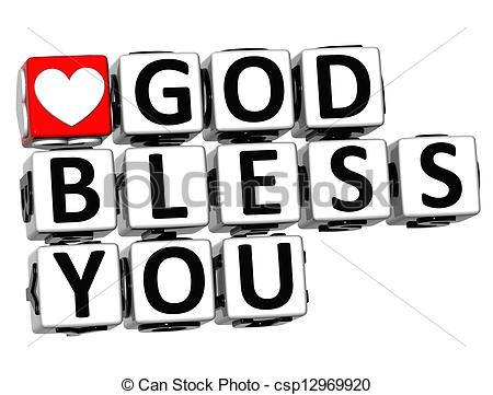 Stock Photo of 3D God Bless You Button Click Here Block Text over.