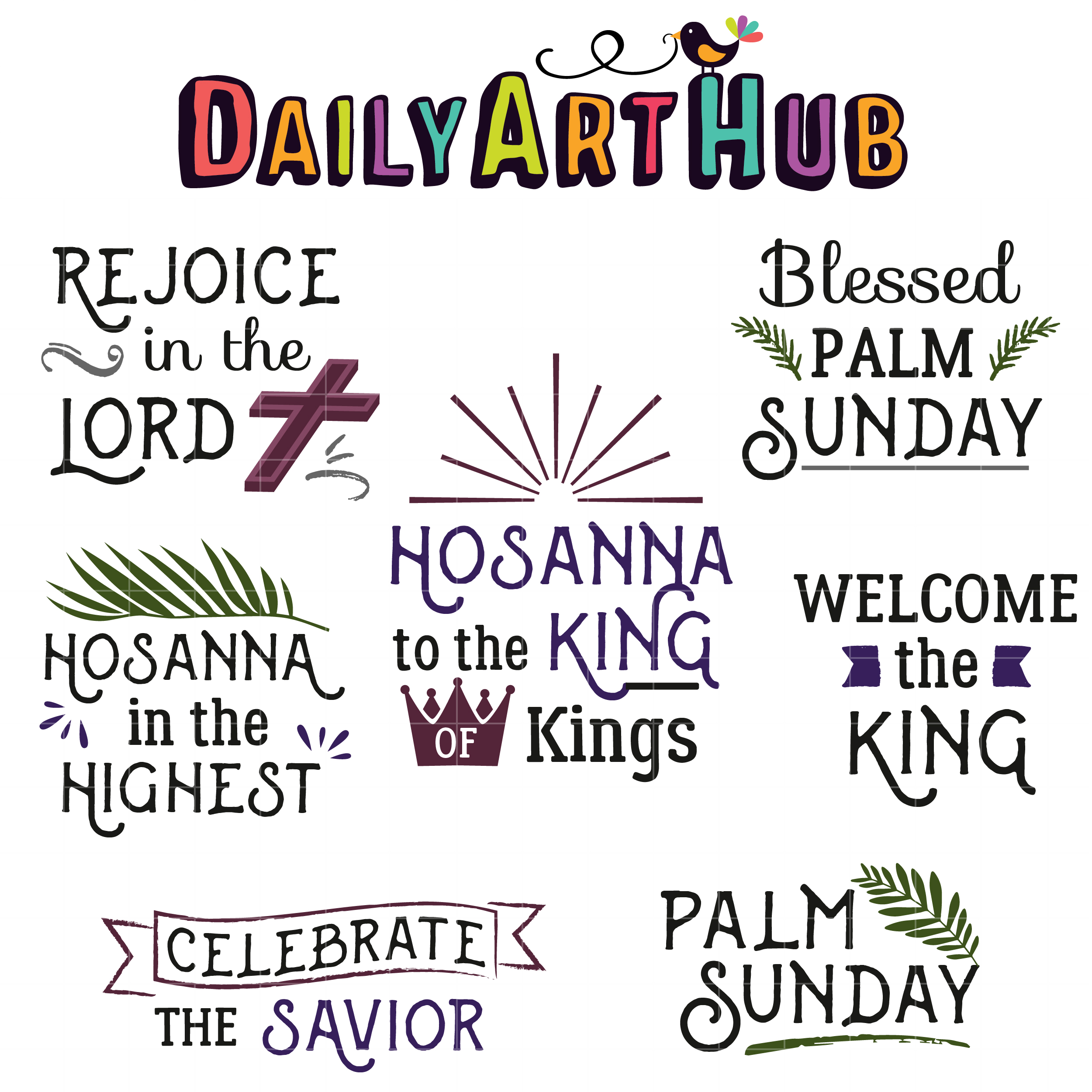 Blessed Palm Sunday Quotes Clip Art Set.